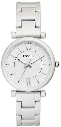 Fossil Carlie Three-Hand Pearl White Stainless Steel Watch