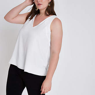 River Island Plus white v neck cami top