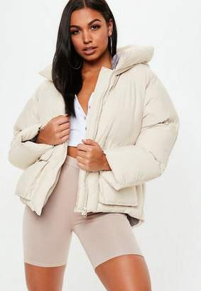 Missguided Nude Oversized Hooded Ultimate Puffer Jacket
