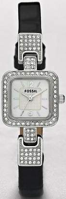 Fossil Women's ES2778 Black Leather Quartz Watch with Dial