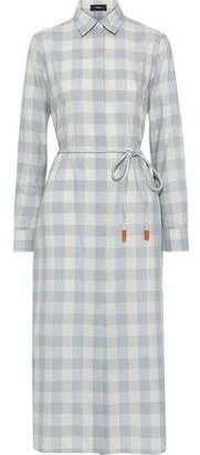 Theory Checked Cotton And Silk-blend Midi Shirt Dress