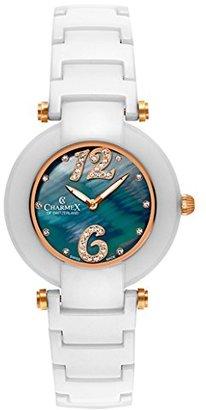 Charmex Tuscany 6266 35 mmセラミックケースセラミックホワイトSynthetic Sapphire Women 's Watch