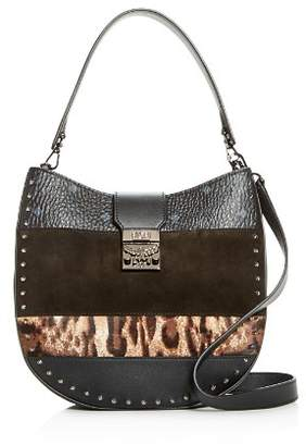 MCM Patricia Leopard Mixed Media Medium Hobo