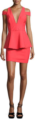 Milly Simona Cold-Shoulder Peplum Cocktail Dress, Red