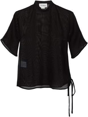 Elissa McGowan Lace-up outseam mesh T-shirt