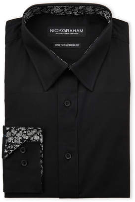 Nick Graham Black Stretch Modern Fit Dress Shirt