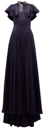 Prada Crystal Embellished Satin Gown - Womens - Navy