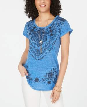 Style&Co. Style & Co Graphic Scoop-Neck Top, Created for Macy's