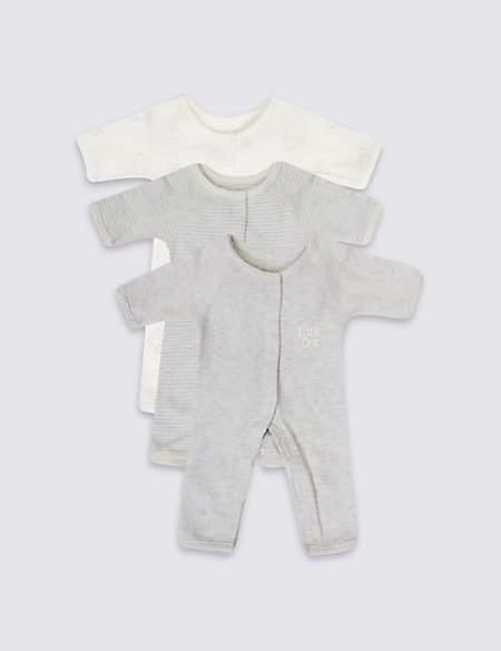 3 Pack Premature Pure Cotton Sleepsuits