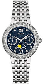 Bulova Diamond Accent Stainless Steel Moon Phase Watch $499 thestylecure.com