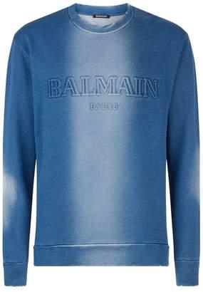 Balmain Distressed Logo Sweatshirt