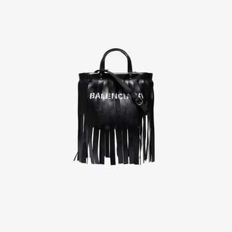 Balenciaga Black Fringed Logo Leather Tote