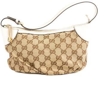 Gucci White Leather GG Monogram Canvas Guccisima Pochette Bag (Pre Owned)