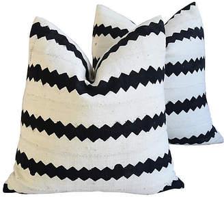 One Kings Lane Vintage Mud Cloth Linen Abstract Pillows