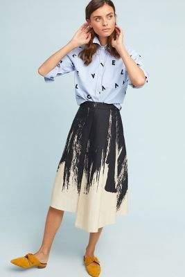 Eva Franco Golden Graphic Skirt