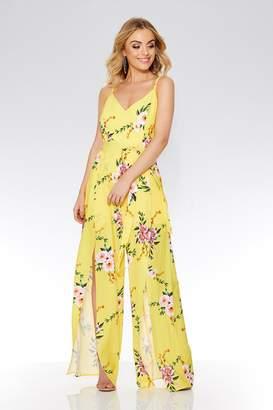db7d843221c1 Quiz Yellow And Pink Floral Split Leg Jumpsuit