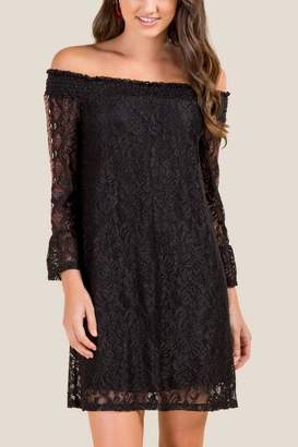 francesca's Mindy Off The Shoulder Lace Dress - Black