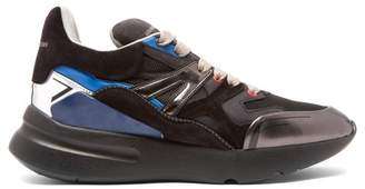 Alexander McQueen Runner Raised Sole Low Top Suede Trainers - Mens - Black Blue
