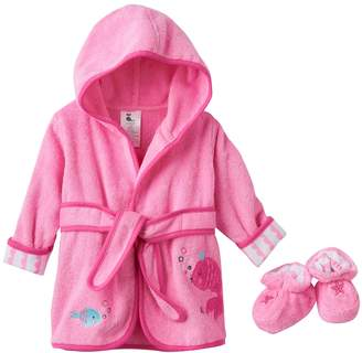 Just Born Baby Girl Robe & Booties Set