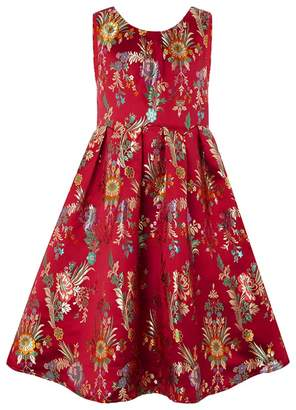 Monsoon Girls' Red Folk Jacquard Dress