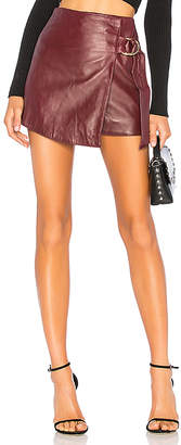 Understated Leather Mini Wrap Skirt