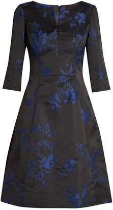 OSCAR DE LA RENTA Floral-embroidered duchess-satin dress $2,690 thestylecure.com