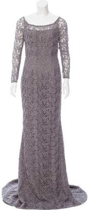 Carmen Marc Valvo Metallic Guipure Lace Dress