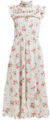 Horror Vacui Hilaria Strawberry And Polka Dot Cotton Maxi Dress - Womens - White Multi