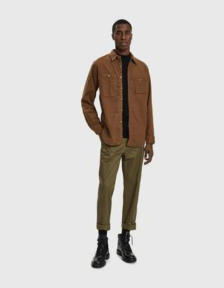 Engineered Garments Work Button Up Shirt in Tan Cotton Flannel