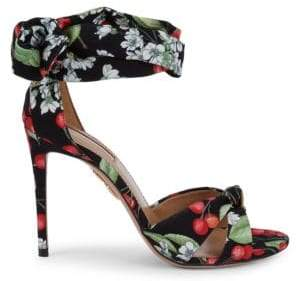 Aquazzura All Tied Up Cherry Printed Sandals