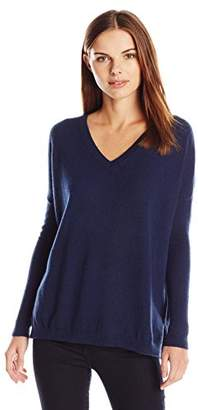 Lark & Ro Women's 100% Cashmere Slouchy V-Neck Sweater