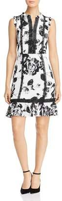 Karl Lagerfeld Paris Crochet-Inset Floral Dress