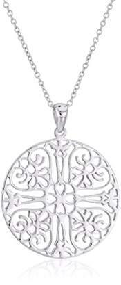 Argentovivo Sterling Medium Filigree Circle Pendant Necklace