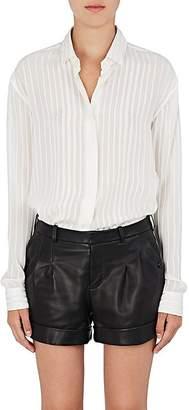 Saint Laurent Women's Striped Silk-Blend Georgette Blouse