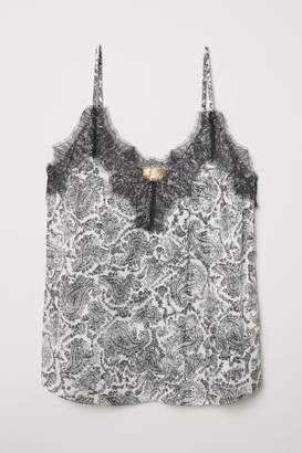 H&M Satin and Lace Camisole Top - Beige