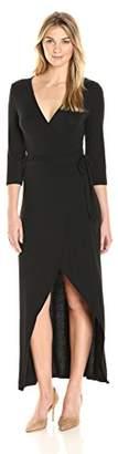 James & Erin Women's Flutter Sleeve Knit Wrap Dress