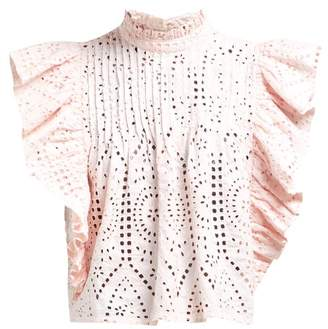 Ganni Sandrose Broderie Anglaise Cotton Blouse - Womens - Light Pink