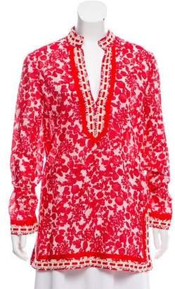 Tory Burch Floral Print V-Neck Tunic