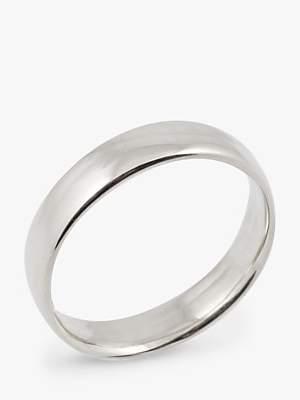 EWA 18ct White Gold 5mm Larger Sized Court Wedding Ring, White Gold