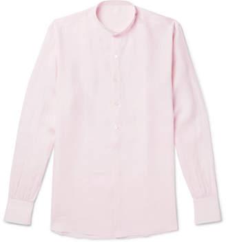 Anderson & Sheppard Grandad-Collar Linen Half-Placket Shirt