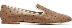 Giuseppe Zanotti Dalila Ostrich-Effect Leather Slippers