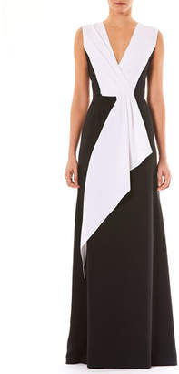 Carolina Herrera V-Neck Sleeveless Draped Silk Evening Gown