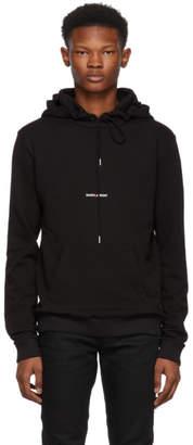 Saint Laurent Black Rive Gauche Logo Hoodie