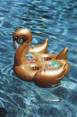 Sunnylife Swan Gold Inflatable Drink Holder $20 thestylecure.com
