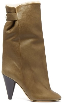 Isabel Marant Lakee Shearling Lined Leather Boots - Womens - Khaki