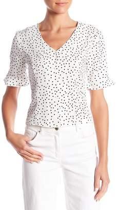 Elodie V-Neck Short Sleeve Polkadot Button Down Shirt