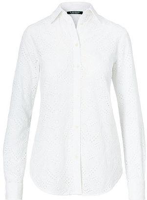 Ralph Lauren Eyelet Cotton Shirt $125 thestylecure.com