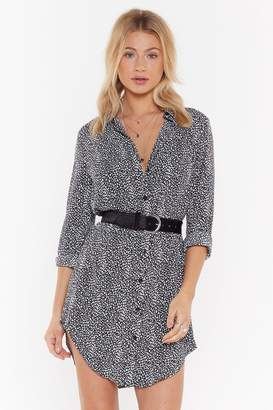 Nasty Gal Womens Spot To Love You Abstract Relaxed Shirt Dress - Black - 6, Black