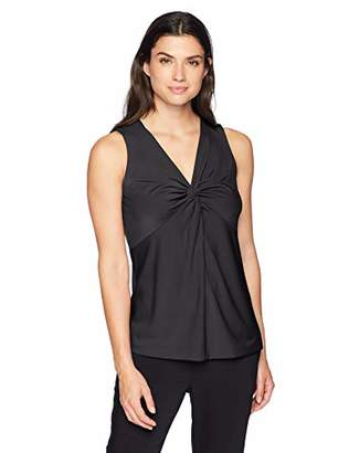 Lark & Ro Women's Sleeveless Twist V-Neck Blouse