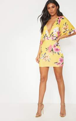 PrettyLittleThing Yellow Floral Batwing Bodycon Dress